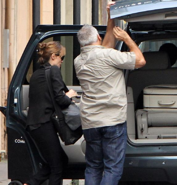Angelina Jolie Leaves New Orleans in a Chevy Tahoe
