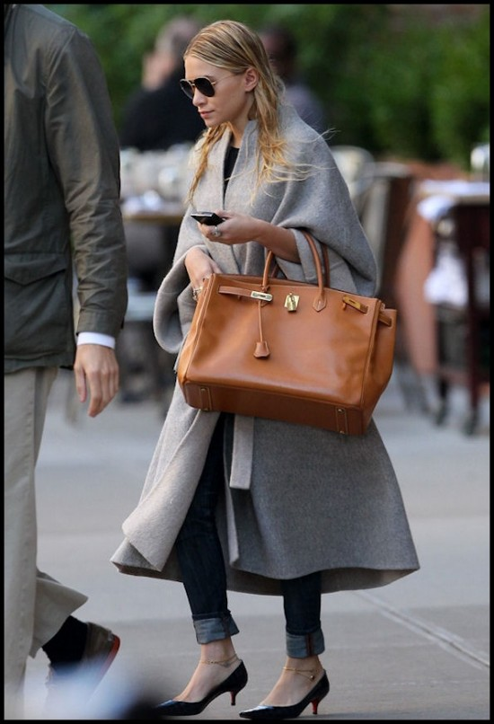 Ashley Olsen Gold Birkin celebrity handbags