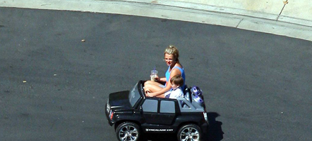 Britney Spears aboard Toy Hummer