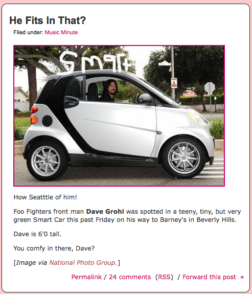 Dave Grohl's Smart Car