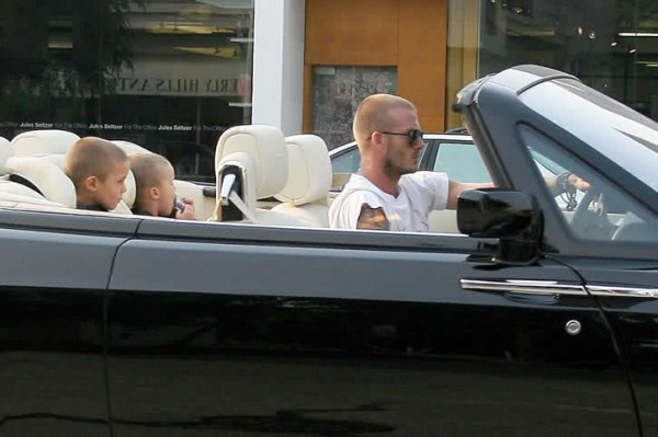 David Beckham in his Rolls Royce Drophead Coupe