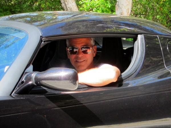 George Clooney Tesla Roadster