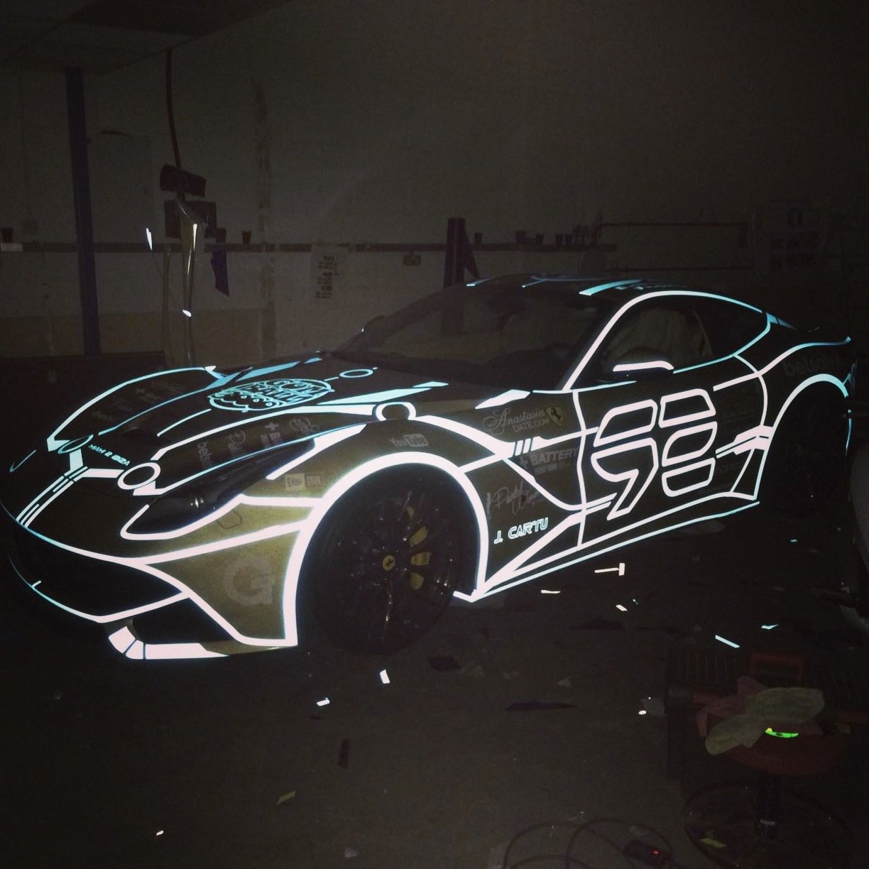 Celebrity Cars Blog 187 Josh Cartu Ferrari F12 Tron Wrap 4