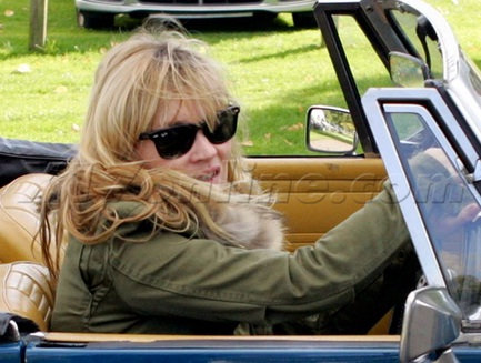 Kate Moss in her MG Convertible