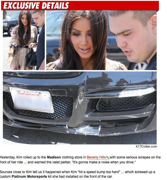 Kim Kardashian Bangs Up Her Bumper on a Speed Bump