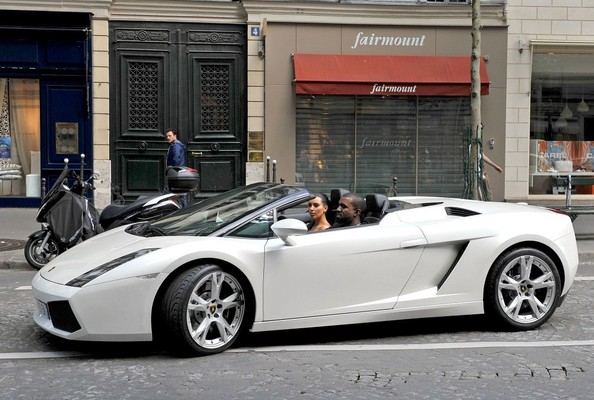 Kim And Kanye Sightseeing Through Paris In A Lamborghini