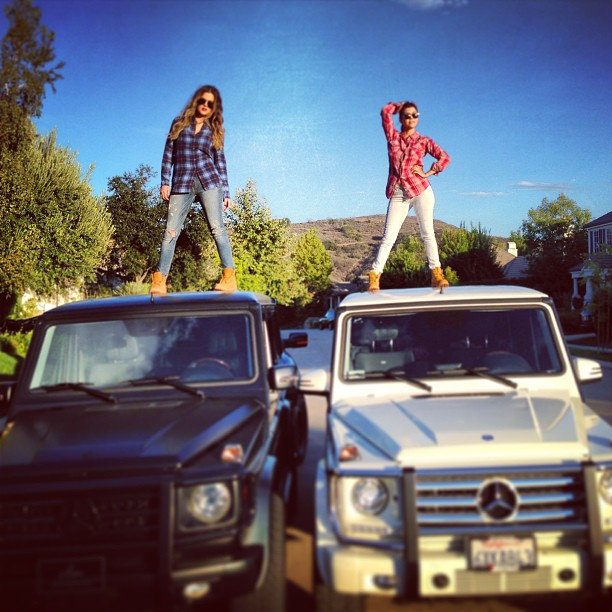 Khloe And Kourtney Show Off Their G-Wagon's