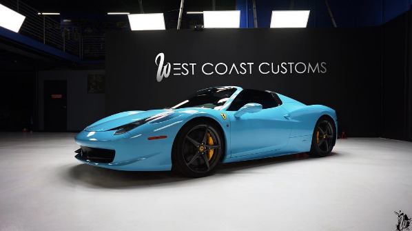 kylie jenner blue ferrari 458 spider - Ferrari 458 Blue And White