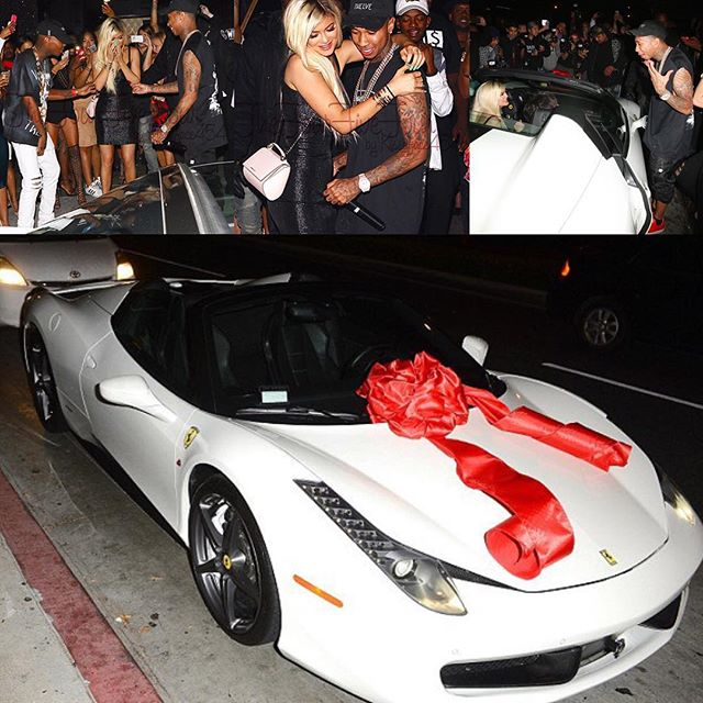 breaking tyga gives kylie jenner a ferrari for her