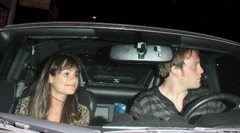 Lea Michele spends the night with her boyfriend in a Nissan 370z Roadster