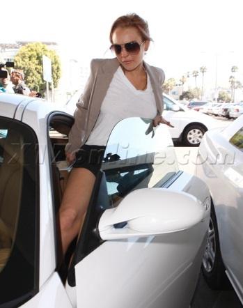 Lindsay in her Lohan Porsche Cayman S