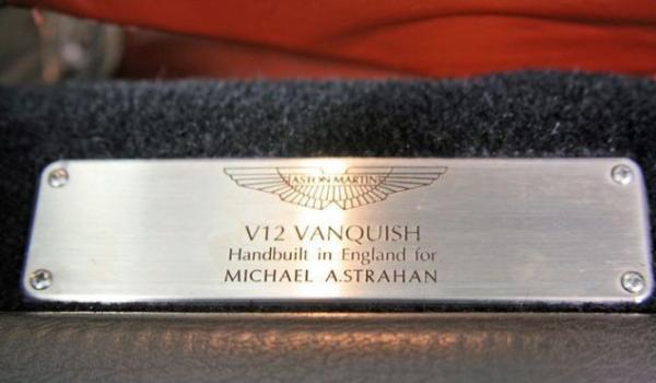Michael Strahan's Aston Martin V12 Vanquish Plate