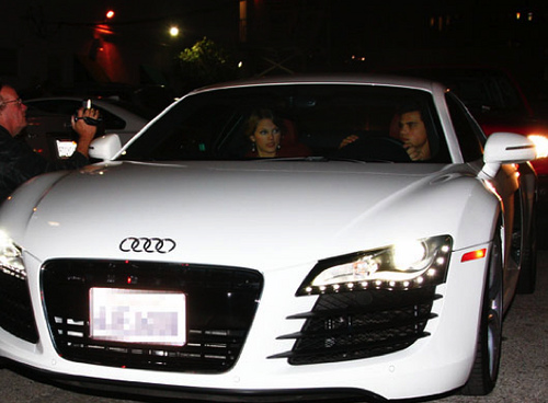 Taylor Lautner and Taylor Swift in Audi R8