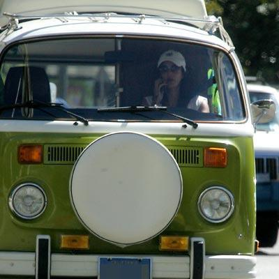 Teri Hatcher drives around in her 1974 Volkswagen Bus.