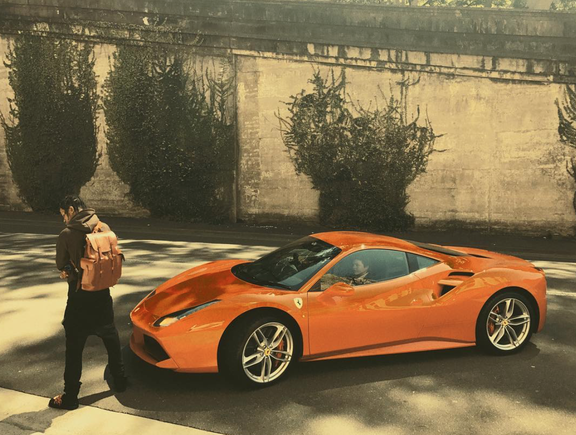 Travis Scott S Burnt Orange Ferrari 488 Celebrity Cars Blog