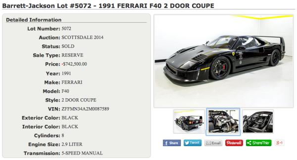 dennis collins Ferrari F40