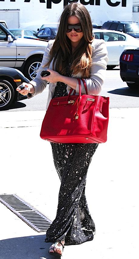 Khloe Kardashian Red Birkin