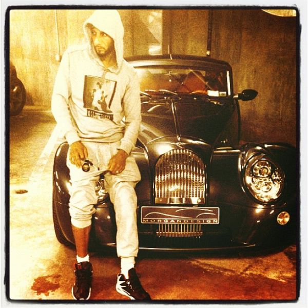 Swizz Beats with his New Morgan Aero Coupe
